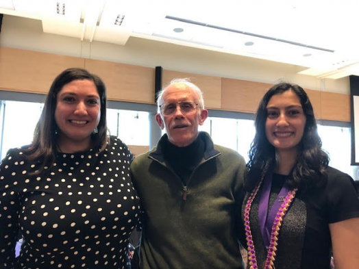 Erika  with her sister Zoraida and Professor Walter Andrews at the Husky 100 reception