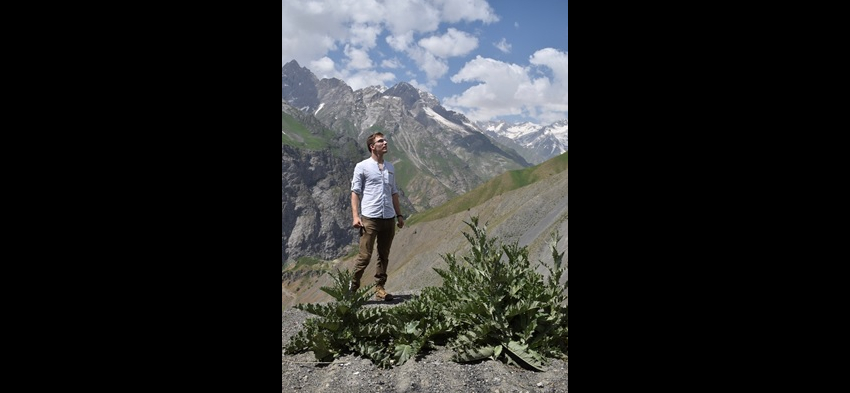 Noah Gruenert in the mountains of Tajikistan