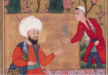 Baki manuscript illustration of two men